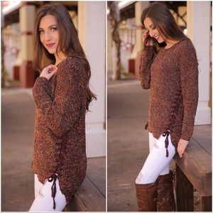 ✨LAST ONE✨Terra-cotta Marled Lace Up Sweater